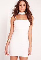 Missguided Choker Neck Strappy Bodycon Dress White