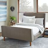 west elm Leather Sleigh Bed - Elephant Gray
