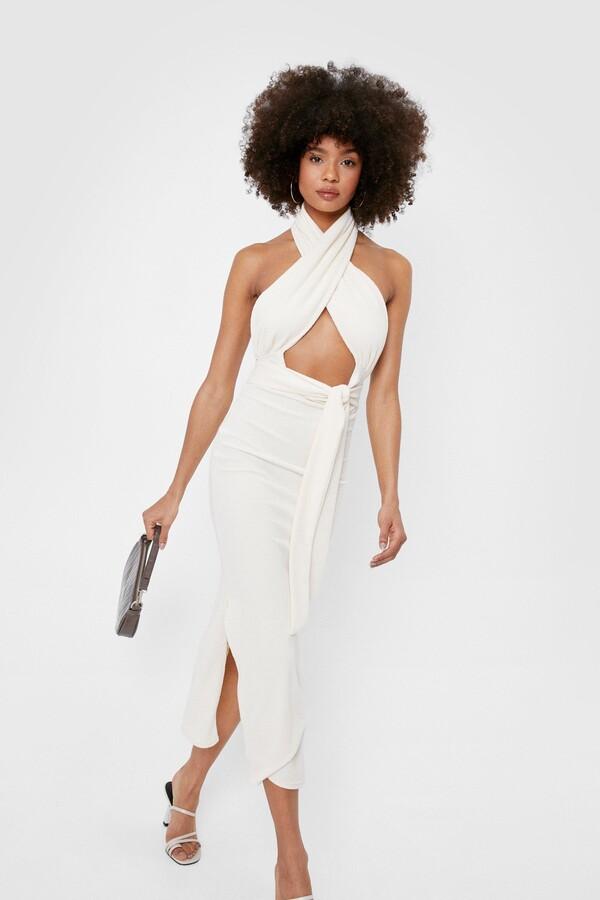 Thumbnail for your product : Nasty Gal Womens Halter Open Back Split Hem Midi Dress - Cream - 6