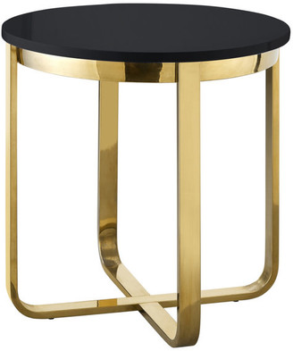 INSPIRED HOME Keala End Table - High Gloss Lacquer Finish Top, Black/G