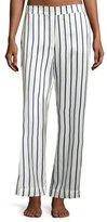 Beautiful Bottoms Striped Silk-Satin Pajama Pants, Blue Pattern