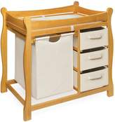 Badger Basket Company Sleigh Style Changing Table with Hamper/3 Baskets in