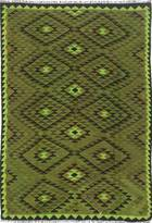 "nuLoom Hand-knotted Vintage overdyed Kilim 6'6""x9'2"" Olive"
