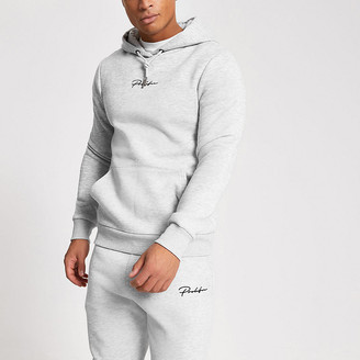 River Island Prolific grey muscle fit hoodie