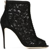 Dolce & Gabbana floral lace boots - women - Goat Skin/Leather/Nylon - 36