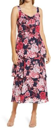 Julia Jordan Floral Tiered Chiffon Midi Dress