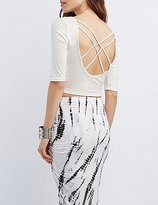 Charlotte Russe Caged-Back Crop Top