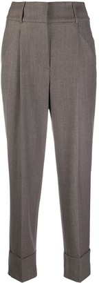 Peserico Pressed Crease Turn-Up Trousers