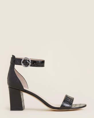 Marc Fisher Black Karlee Croc-Embossed Ankle Strap Sandals