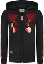 Philipp Plein Girls Black Sequin & Diamante Heart Zip Up Top