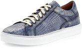 Donald J Pliner Men's Addo Croc-Embossed Leather Low-Top Sneaker, Blue