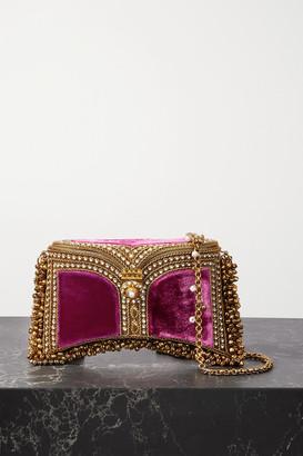 MAE CASSIDY Zeenat Embellished Velvet Clutch - Pink