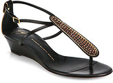 Giuseppe Zanotti Crystal-Coated Leather T-Strap Wedge Sandals