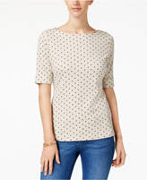 Karen Scott Cotton Polka-Dot-Print Top, Created for Macy's