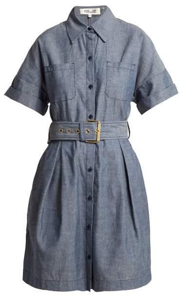 Diane von Furstenberg Belted Cotton Chambray Dress - Womens - Blue