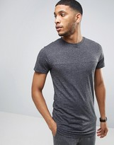 Bellfield Longline Melange T-Shirt With Curved Hem