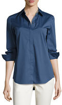 Lafayette 148 New York Brody Long-Sleeve Poplin Blouse