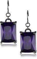 "Noir Classic Cubic Zirconia"" Purple Rectangle Stone Statement Earrings"