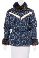 Anna Sui Faux Fur-Trimmed Printed Jacket
