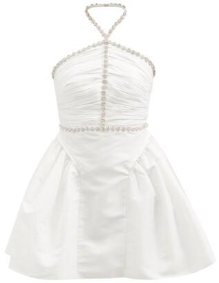 Self-Portrait Diamante-embellished Taffeta Mini Dress - White