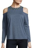 Romeo & Juliet Couture Embellished Cold Shoulder Top