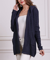 Navy Cable-Knit Wool-Blend Hooded Open Cardigan