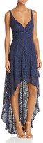 Laundry by Shelli Segal Tiered High/Low Lace Gown