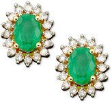 Macy's 14k Gold Earrings, Emerald (1/2 ct. t.w.) and Diamond Oval (1/2 ct. t.w.)