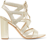 Sam Edelman Lace-up metallic textured-leather sandals