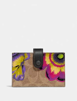 Coach Accordion Card Case In Signature Canvas With Kaffe Fassett Print