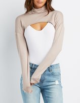 Charlotte Russe Turtleneck Open Cropped Top