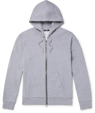 Balmain Slim-Fit Logo-Embossed Melange Loopback Cotton-Jersey Zip-Up Hoodie
