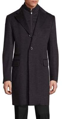 Corneliani Virgin Wool Textured Long Coat