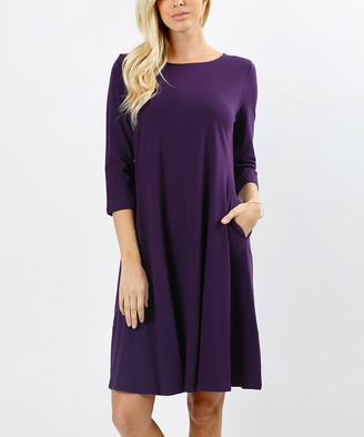 Zenana Women's Casual Dresses DK.PURPLE_IPB - Dark Purple Three-Quarter Sleeve Shift Dress - Women
