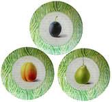 One Kings Lane Vintage Decoupage Fruit Plates - Set of 3 - The Emporium Ltd. - green/ivory/purple/orange/taupe