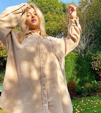 ASOS DESIGN Curve mini fleece shirt dress in camel