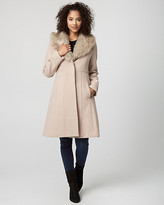Le Château Wool Blend Coat with Faux Fur Collar