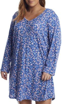 Karen Neuburger Plus Size Denim Ditsy Knit Nightshirt