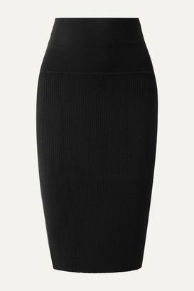 Hatch The Jillian Ribbed Stretch-merino Wool Skirt - Black