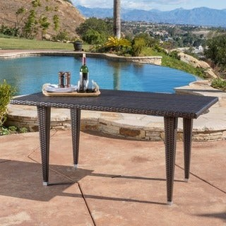 Christopher Knight Home Dominica Outdoor Rectangle Wicker Dining Table