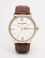 Ben Sherman Portobello Leather Watch In Brown