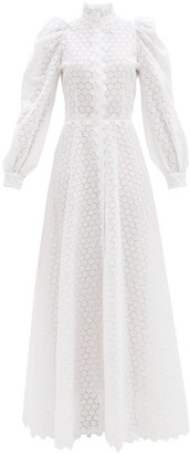Luisa Beccaria High-neck Linen-blend Broderie Anglaise Gown - White