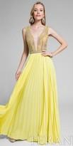 Terani Couture Plunging Illusion Pleated Chiffon Prom Dress