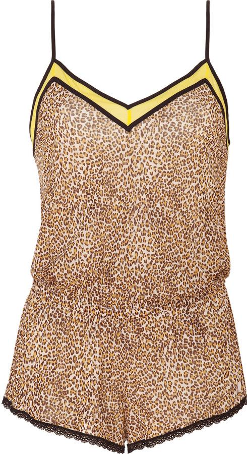 Juicy Couture Angel Leopard Print Mesh Combo Romper