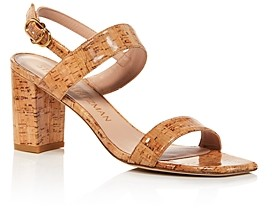 Stuart Weitzman Women's Austine 75 Square-Toe Mid-Heel Sandals