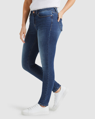 Jeanswest Women's Blue Skinny - Curve Embracer Skinny Jeans Mid Vintage - Size One Size, 14 Regular at The Iconic