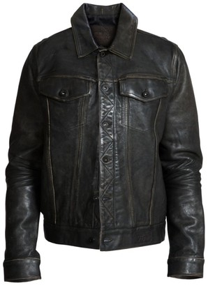 PRPS Cherub Graphic Leather Trucker Jacket
