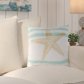 """Highland Dunes Chaucer Stripes And Starfish Outdoor Throw Pillow Highland Dunes Size: 26"""" H x 26"""" W x 4"""" D"""