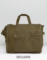 Reclaimed Vintage Canvas Messenger Bag Green