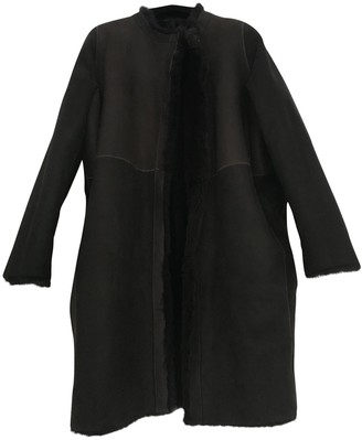Karl Donoghue Brown Leather Coat for Women